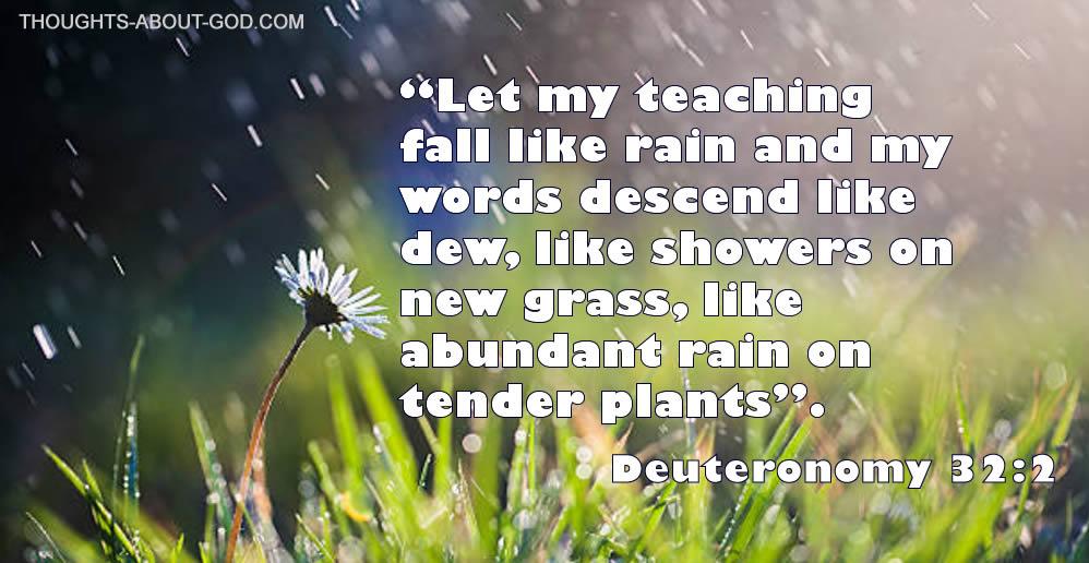 "Duet.32:2 ""Let my teaching fall like rain and my words descend like dew, like showers on new grass, like abundant rain on tenderplants""."