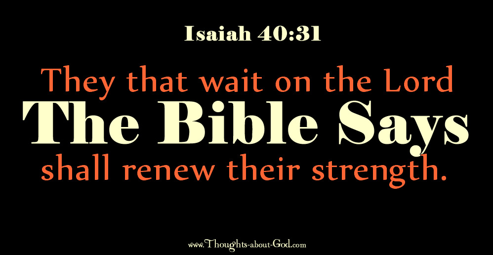Isaiah 40:31 They that wait on the Lord will renew their strength.
