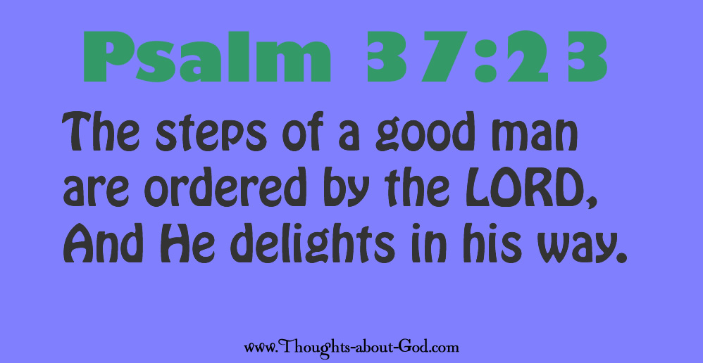 Psalm 37:23 The steps of a good man are ordered by the LORD, And He delights in his way.