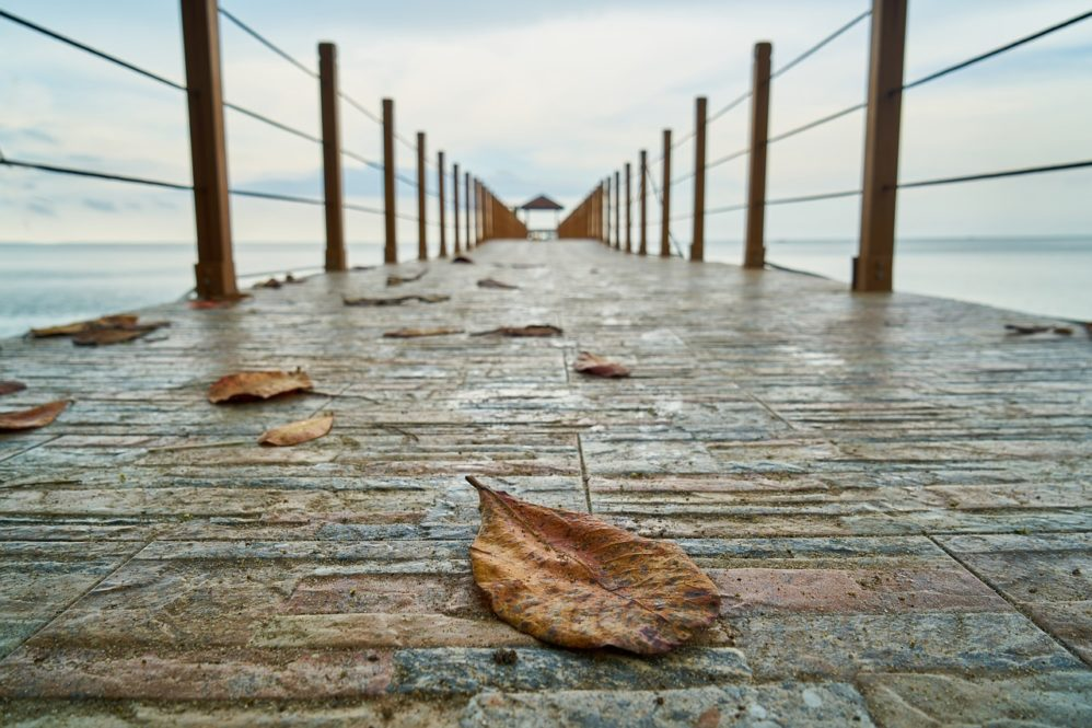 dry leave on pier. Failing marriage. Save marriage
