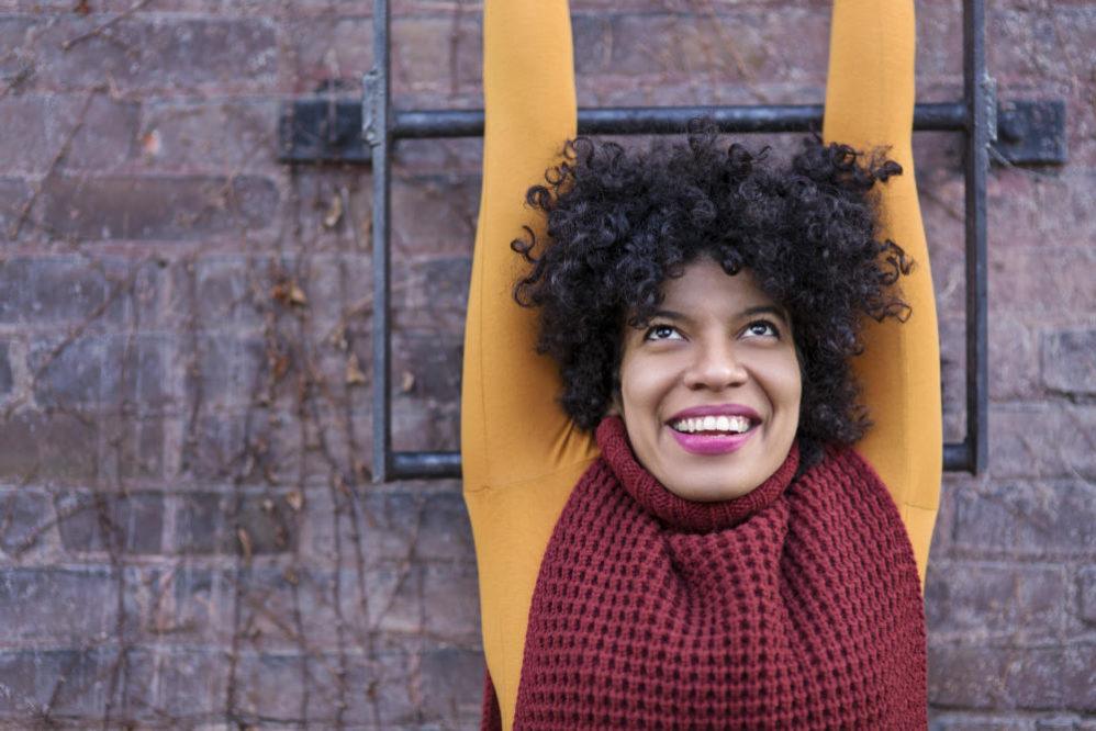 woman hanging happy