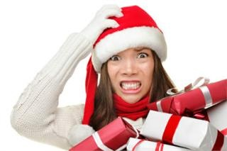 Frazzled busy Christmas rush craziness